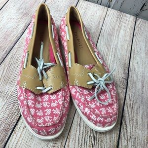 Talbots   pink deck shoes with fish print